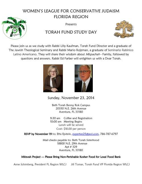 Torah Fund Study Day 11-23-14 PDF